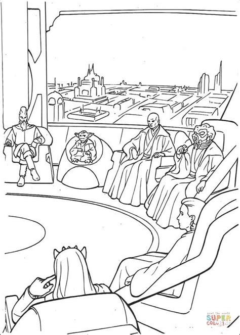 coloring pages star wars jedi jedi high council meeting on coruscant coloring page