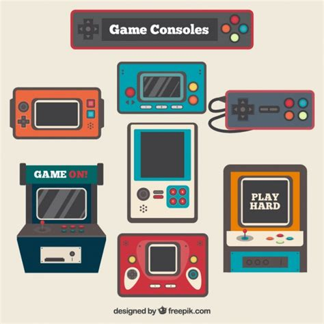 game design vector vintage video game consoles in flat design vector free