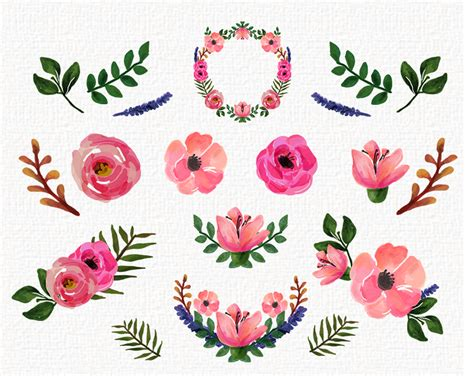 Free Floral Clipart freebies watercolor floral clip collection roses