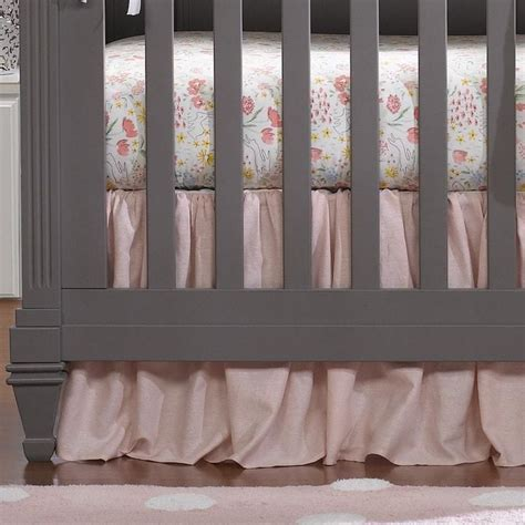 Petal Pink Curtains Petal Pink Linen Crib Skirt Gathered 16 Quot Drop Liz And Roo