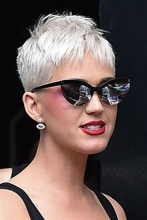 Katy Perry Hairstyle by Katy Perry Silver Pixie Cut Hairstyle