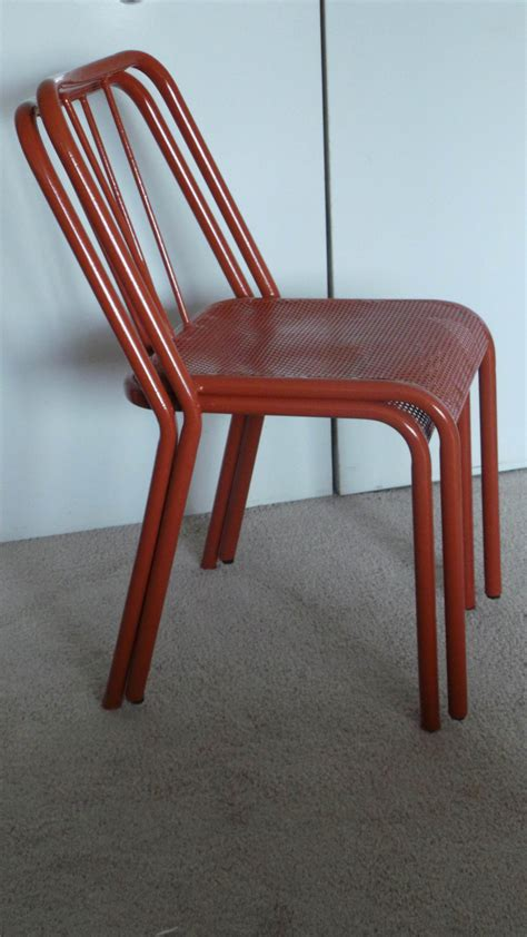 comfortable stacking chairs six 1940 s very comfortable industrial steel stacking