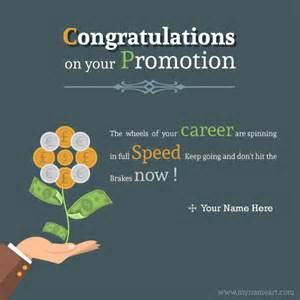 write name on congratulations on your promotion greeting picture wishes greeting card