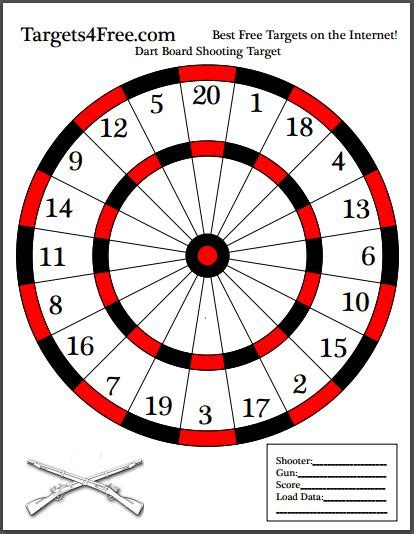 printable dart board targets dart board shooting target targets4free