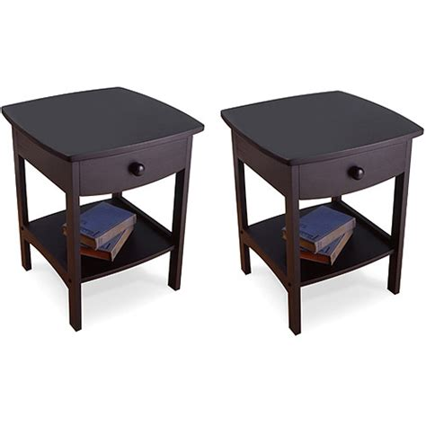 night stand l set curved nightstand end set of 2 multiple colors