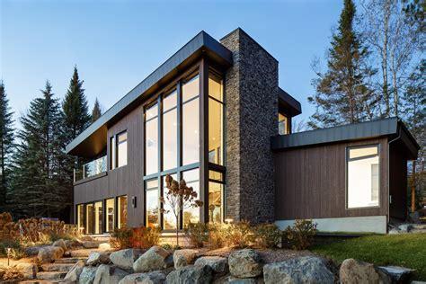 modern lake cabin modern home  quebec canada  bone