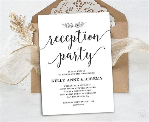 reception card template brown paper wedding reception invitation printable reception card