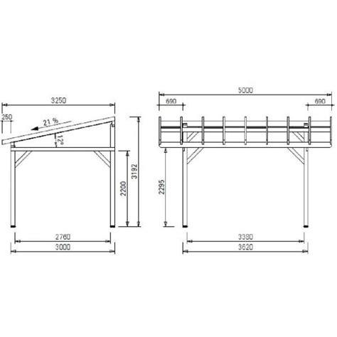Dimensions Of 3 Car Garage carport bois av3350bm auvent terrasse couverte abri