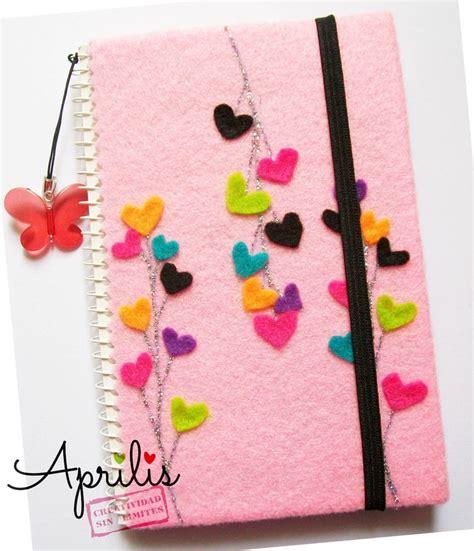 libreta para asignacion por hijo libreta rosada con corazones de fieltro cuadernos y