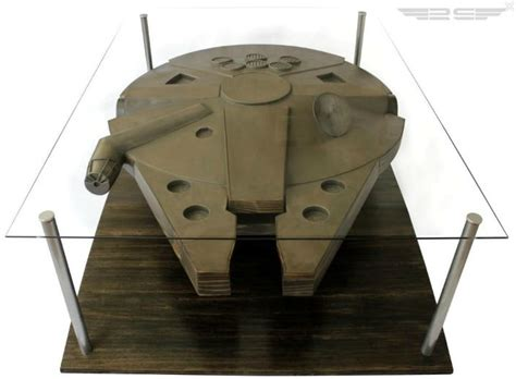 millenium falcon and han in carbonite coffee table