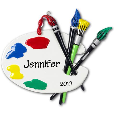 personalized artist s palette christmas ornament