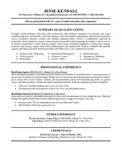 Resume Sle Of Real Estate Real Estate Resume