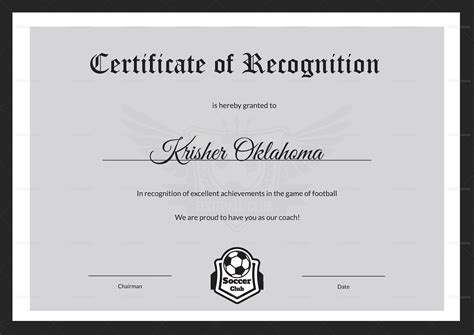 football certificates templates uk certificates of recognition templates enrollment