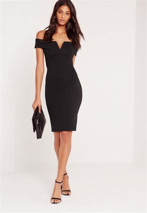 v front bardot midi dress black missguided