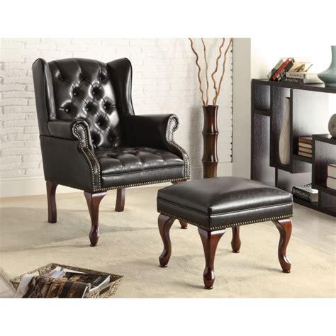chair w ottoman black vinyl button tufted wing chair w ottoman chairs