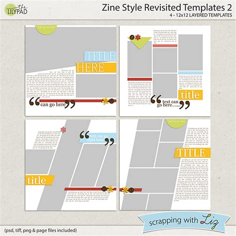 Digital Scrapbook Template Zine Style 2 Scrapping With Liz Zine Magazine Template