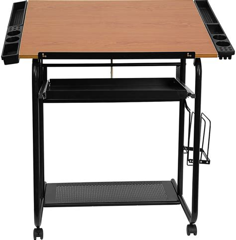Drafting Table Parts Adjustable Drawing And Drafting Table With Black Frame And Dual Wheel Casters