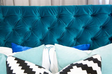 glitter and goat cheese diy velvet tufted headboard