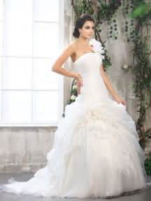 One Shoulder Wedding Dresses Organza One Shoulder Ball Gown Wedding Dress With Flowers Sang Maestro