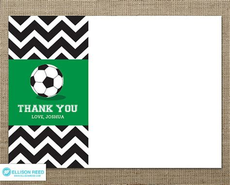 printable thank you cards sports chevron soccer thank you note soccer printable