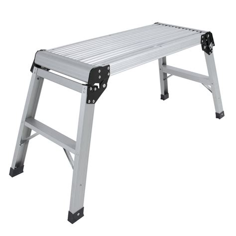 Folding Aluminum Work Bench certified en131 aluminum platform drywall step folding work bench stool ladder ebay