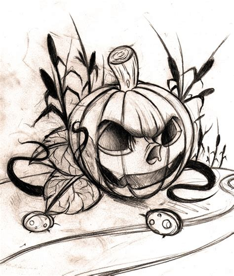 halloween tattoo designs grey ink pumpkin design