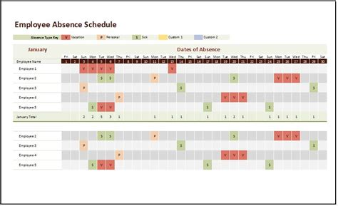 employee absence schedule template  excel xls