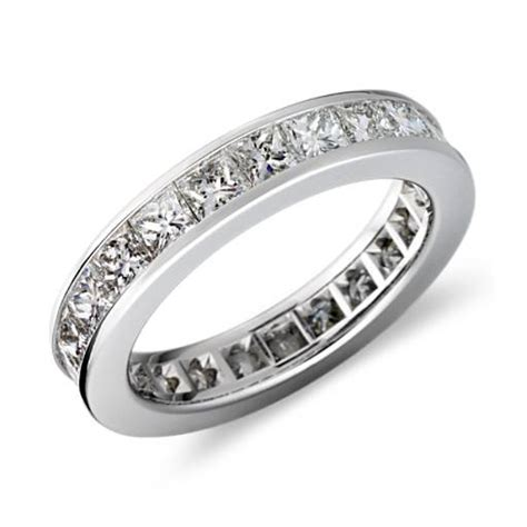 asscher cut channel set eternity ring in platinum