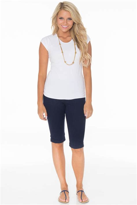 colored denim s modest bermuda shorts in navy colored denim