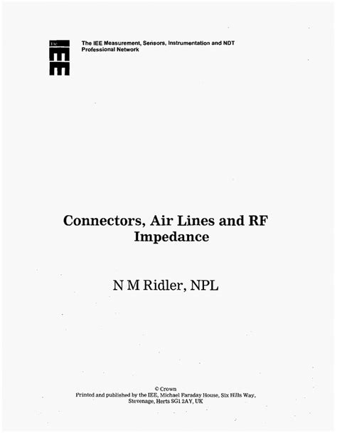 Connectors, Air Lines And RF Impedance