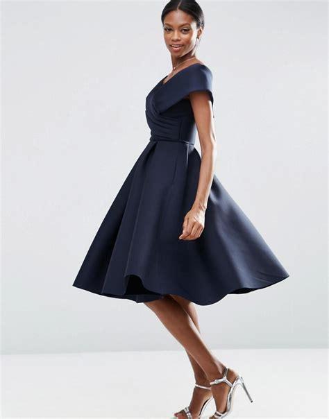lyst asos wedding scuba   shoulder midi prom dress  blue