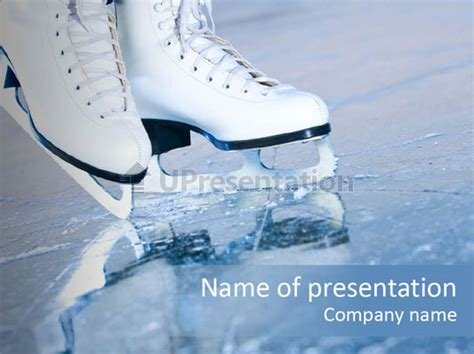 Ice Skates Powerpoint Templates | skate background blue powerpoint template id 0000093549
