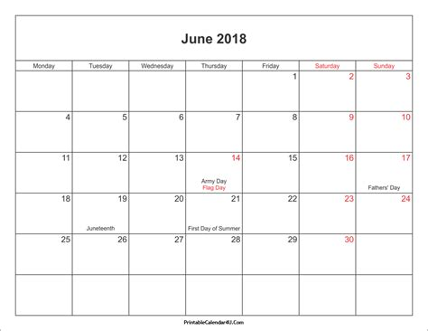 printable calendar june 2018 june 2018 calendar printable with holidays pdf and jpg