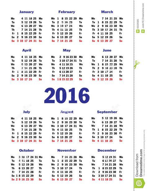 Calendario Vertical Vertical Simple Calendar For 2016 Stock Vector Image