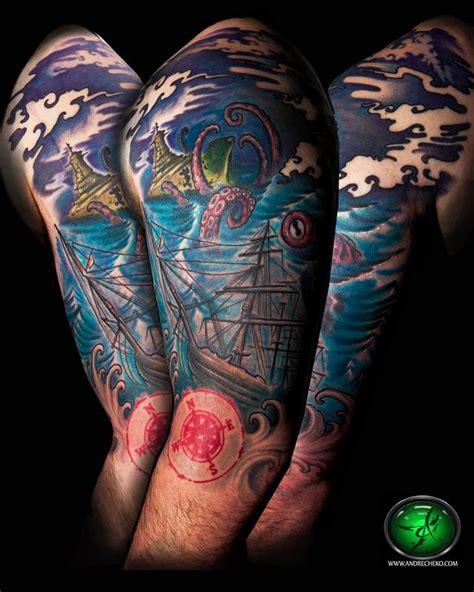 nautical quarter sleeve tattoo nautical sea creature color half sleeve by andre cheko