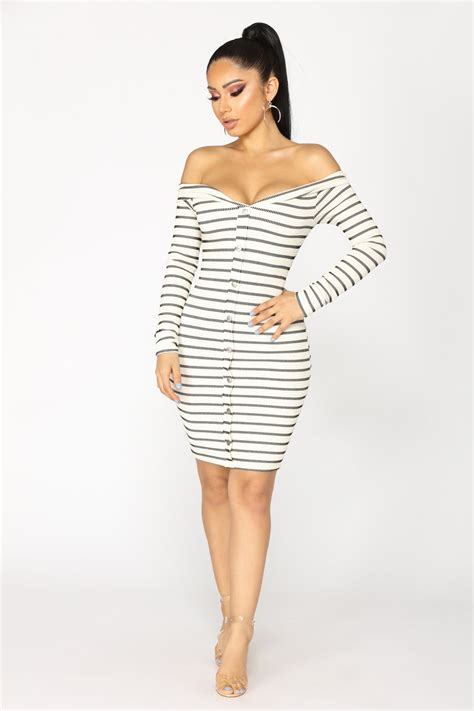 Fashion Wanita Dress Midi Dress stripe that midi dress ivory black