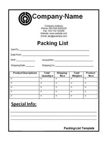 Commercial Packing List Template by Packing List Template Cyberuse