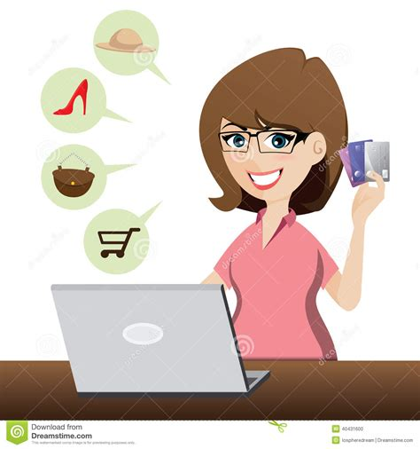 Online Shopping With Gift Card - cartoon cute girl shopping online with credit cards stock vector image 40431600