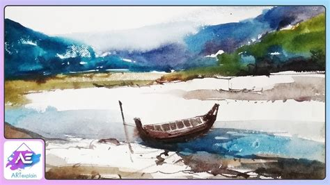 watercolor river tutorial river with boat watercolor painting tutorial how to
