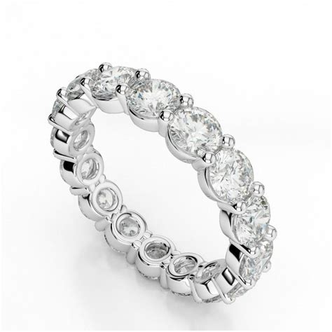 Band Engagement Moissanite Ring Wedding by 4 Carat Forever Brilliant Moissanite Eternity Band