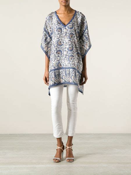 81 Blouse Torry burch printed tunic blouse in blue white lyst