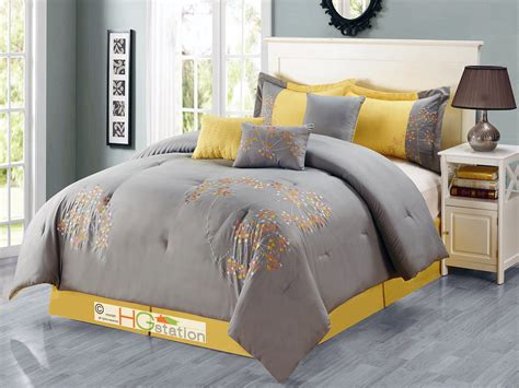 silver king comforter 7 pc cheerful dandelion floral embroidery comforter set