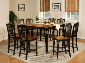 Black Dining Room Table Sets by 7pc Square Counter Height Dining Room Table Set 6 Stool