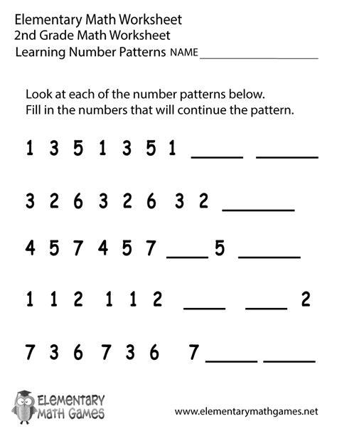 pattern worksheet for 1st grade second grade number patterns worksheet