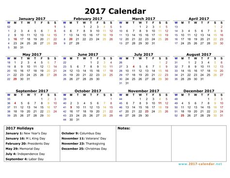 The Calendar For 2017 Printable 2017 Calendar