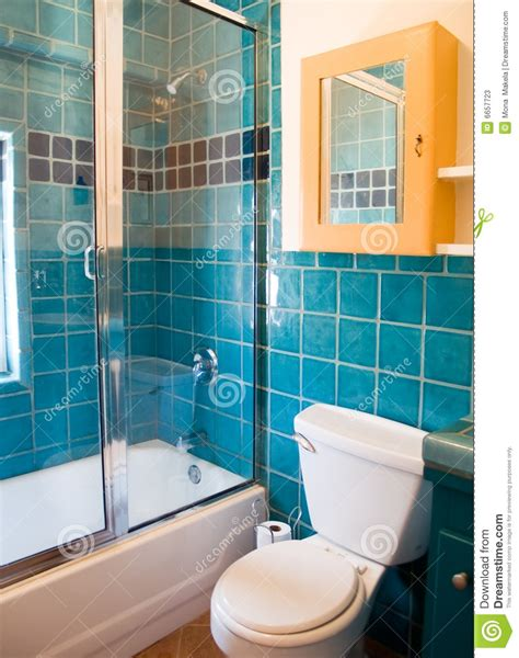 turquoise tile work in a bathroom stock image image 6657723