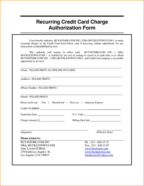credit card recurring payment authorization form template authorization letter for credit card payment