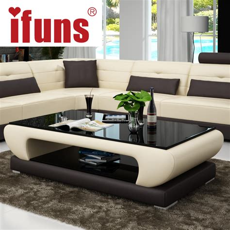 Living Room Glass Coffee Tables Ifuns Living Room Furniture Modern New Design Coffee Table Glass Top Wood Base Coffee Table