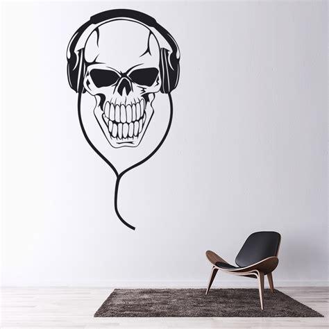 skull headphones wall sticker  wall decal kids