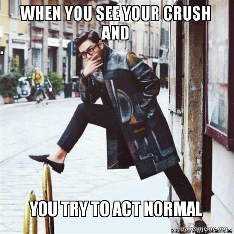 Ways To Behave With Your Crush When You Are In A by When You See Your Crush And You Try To Act Normal Make A